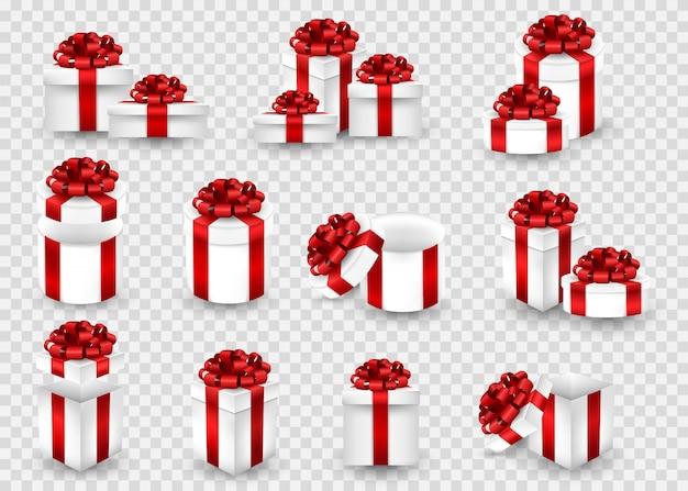 Grande conjunto com caixas de presente em uma tela transparente. caixas de presente de várias formas, embrulhadas em uma fita vermelha e com um laço no topo.