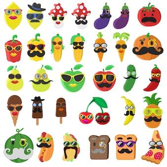 Grande conjunto com comida de personagem de desenho animado com bigode