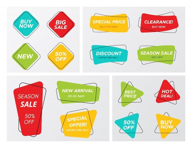 Grande conjunto com etiquetas de venda geométrica de cores brilhantes