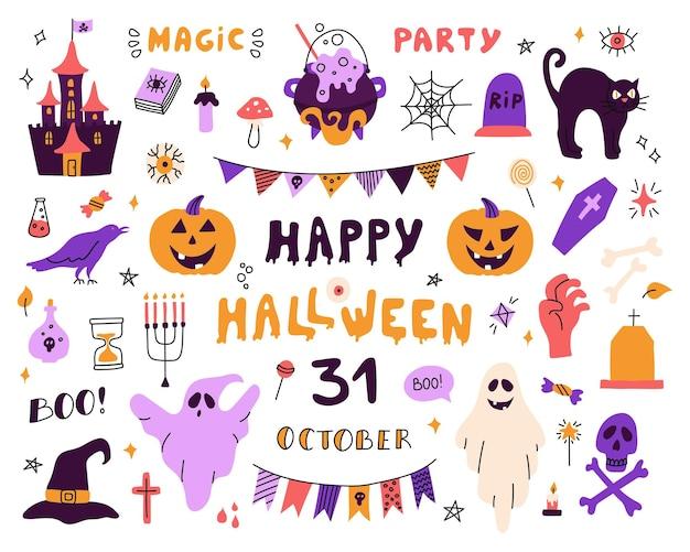 Grande conjunto com personagens e ícones para halloween ilustrações planas em um fundo branco