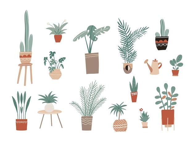 Grande conjunto com planta de casa desenhada à mão, flores em vaso, planta de folhagem verde e regador romântico. modelo para web, cartão, cartaz, adesivo, banner, convite, casamento. ilustração desenhada à mão