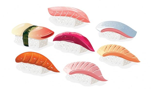 Grande conjunto com sushi japonês hokkigai, hirame, tai, maguro, sake, saba, hamachi. pratos asiáticos de arroz com vinagre e peixes. ilustração realista em fundo branco para menu.