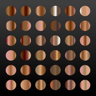 Grande conjunto de 36 gradientes de bronze