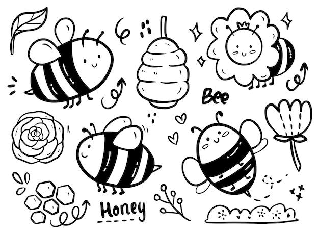 Grande conjunto de abelhas fofas e doodle de flores