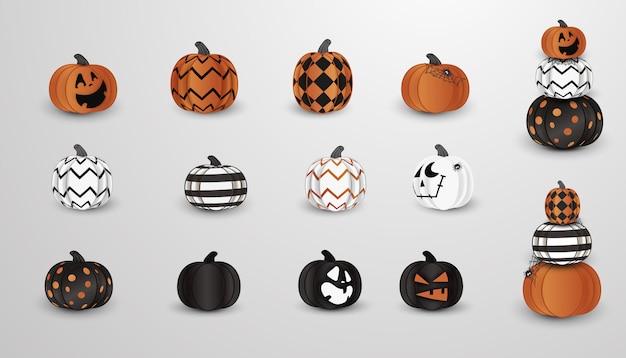 Grande conjunto de abóboras assustadoras, assustadoras de halloween realista com rostos diferentes, teia de aranha.
