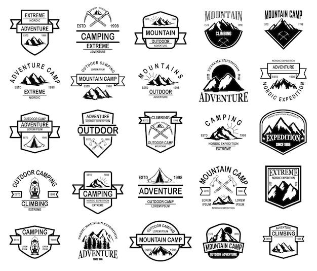 Grande conjunto de acampamento de montanha, emblemas de aventura ao ar livre.