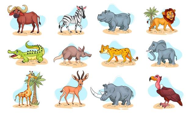 Grande conjunto de animais africanos. personagens engraçados de animais no estilo cartoon. ilustração infantil. coleção de vetores.