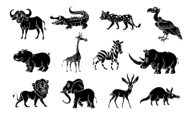 Grande conjunto de animais africanos. silhueta de animais de personagens engraçados. ilustração infantil. coleção de vetores.