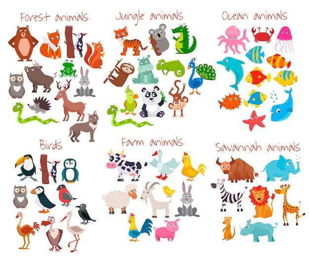 Grande conjunto de animais fofos dos desenhos animados. ilustração.