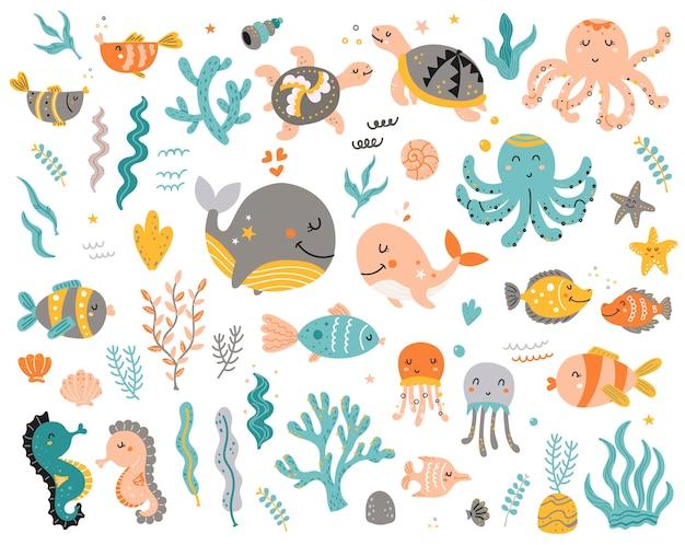 Grande conjunto de animais marinhos para crianças