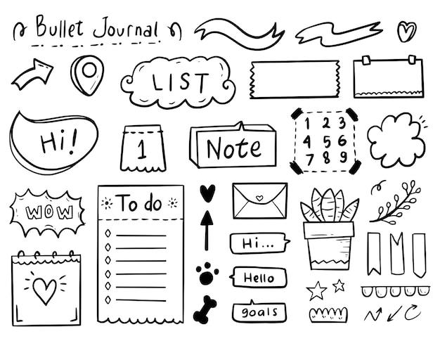 Grande conjunto de anotações de diário com marcadores desenhando uma coleção de doodle