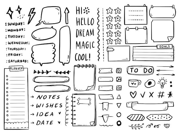 Grande conjunto de anotações de diário com marcadores para fazer a coleção de doodle de desenho de lista