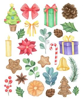 Grande conjunto de aquarela com temas de ano novo e natal