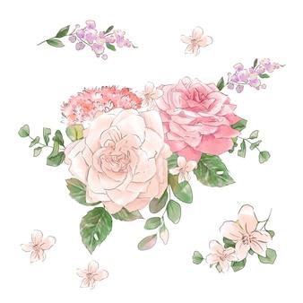 Grande conjunto de aquarelas rosas concurso super qualidade.