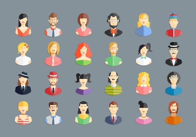 Grande conjunto de avatares de vetor. ícones de homens e mulheres, jovens e meninas