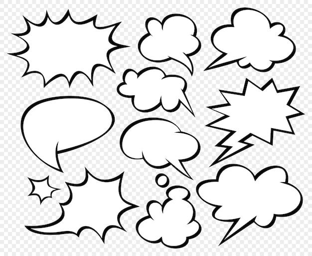 Grande conjunto de balões de fala em quadrinhos com fundo de ponto de meio-tom e estilo pop art