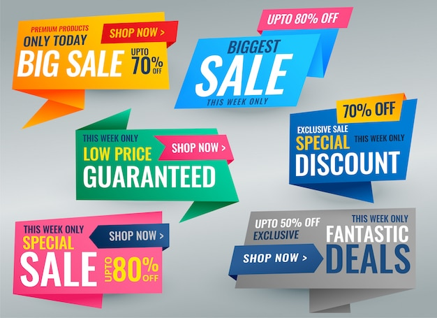 Grande conjunto de banner promocional de venda e tags