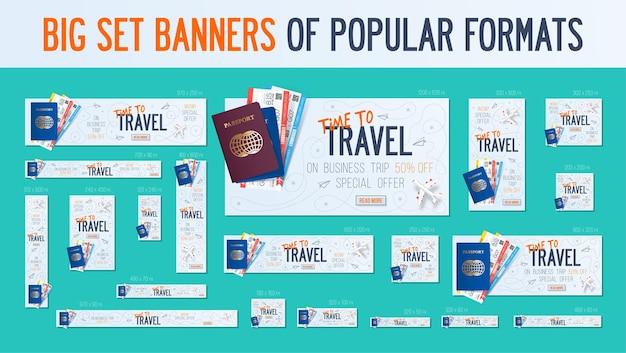 Grande conjunto de banners adaptados aos formatos populares do seu site, anúncios. banners de viagens de negócios.
