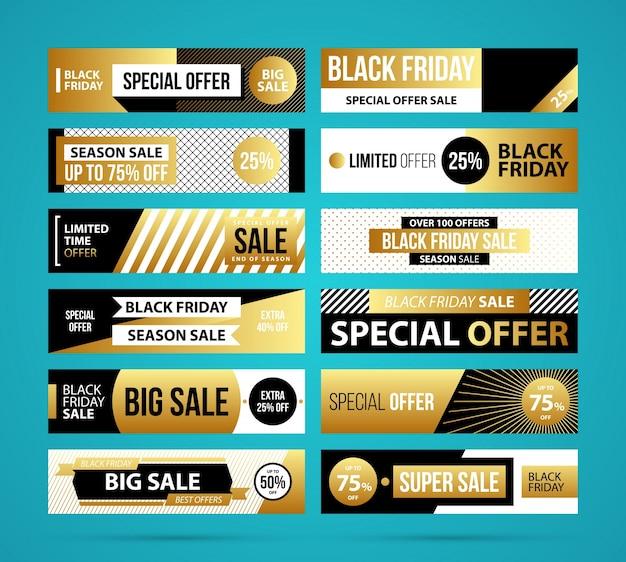 Grande conjunto de banners da sexta feira negra em estilo dourado em fundo azul-turquesa