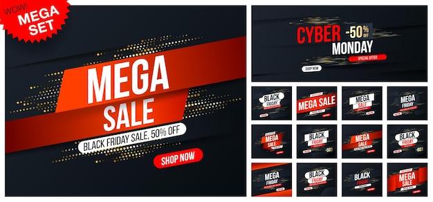 Grande conjunto de banners de mega sale com efeito de brilho de meio-tom dourado para vendas e descontos