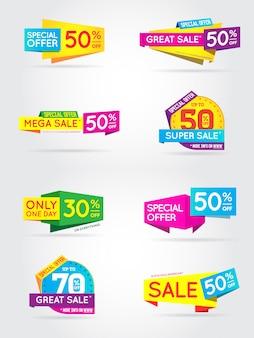 Grande conjunto de banners de sinal de venda