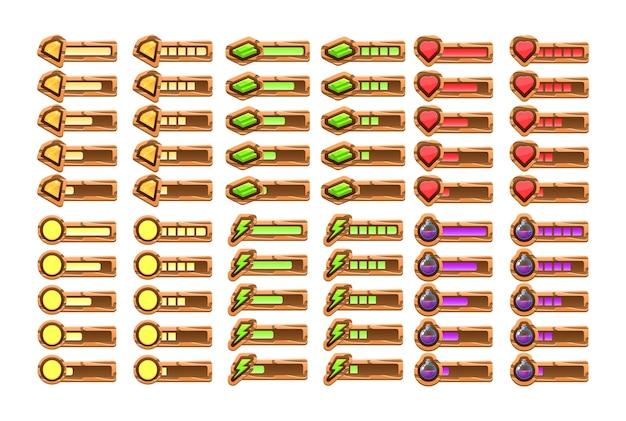 Grande conjunto de barra de progresso de madeira engraçada