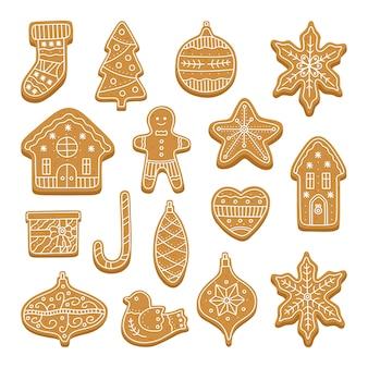 Grande conjunto de biscoitos de gengibre de natal.