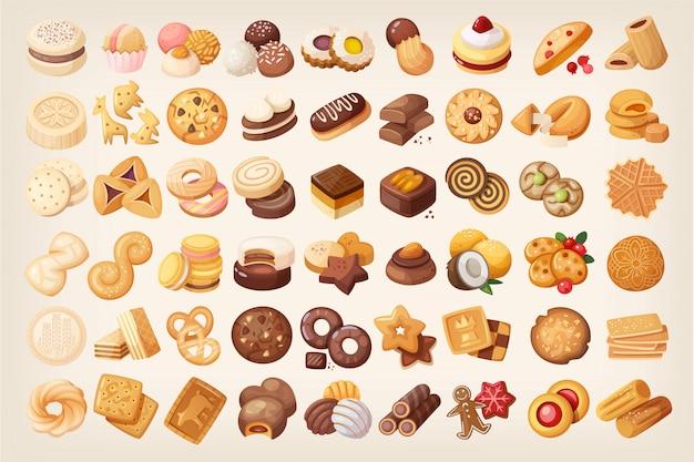 Grande conjunto de bolachas e biscoito