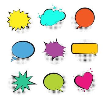 Grande conjunto de bolhas do discurso em quadrinhos retrô de cor