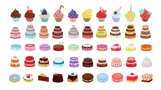 Grande conjunto de bolos, doces, muffins e donuts.