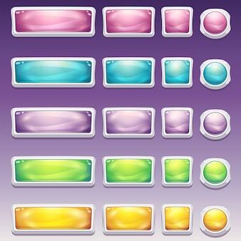Grande conjunto de botões em fascinante moldura branca de diferentes tamanhos