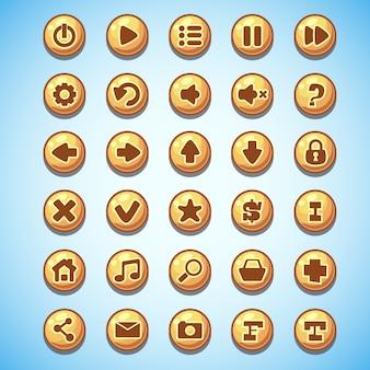 Grande conjunto de botões redondos, desenho animado, jogo de computador velho oeste
