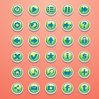 Grande conjunto de botões redondos em verde cartoon para a interface do jogo
