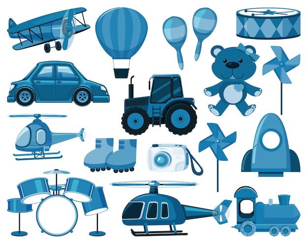 Grande conjunto de brinquedos azuis e outros objetos