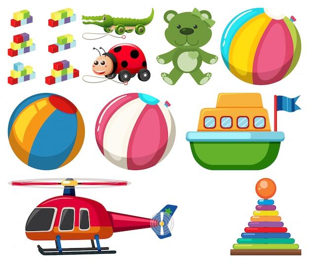 Grande conjunto de brinquedos diferentes