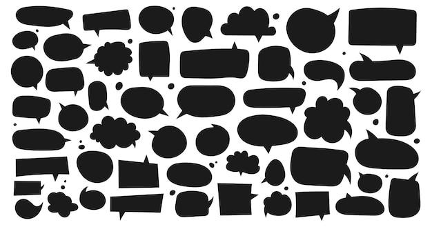 Grande conjunto de caixas de diálogo com diferentes variantes desenhadas à mão