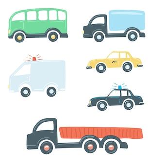 Grande conjunto de caminhões estilo cartoon plana simples mão desenho ilustração vetorial