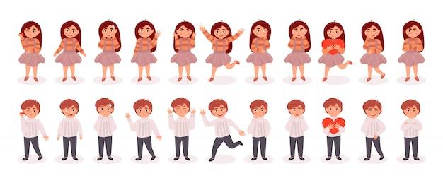 Grande conjunto de caracteres de menina e meninos. ilustração colorida dos desenhos animados plana.
