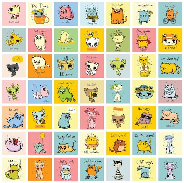 Grande conjunto de cartas de vetor com gatos engraçados fofos e texto desenhado à mão
