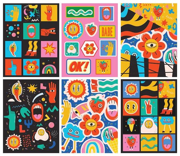 Grande conjunto de cartazes com ilustrações de diferentes cores em design plano de desenho animado