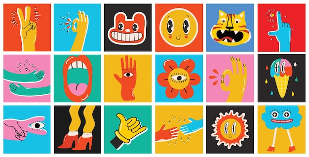 Grande conjunto de cartazes de illustartion vector coloridas diferentes no design plano dos desenhos animados. mão-extraídas formas abstratas, personagens de quadrinhos fofos engraçados.