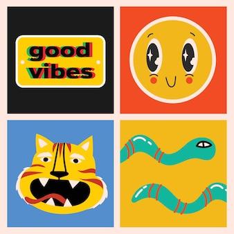 Grande conjunto de cartazes de illustartion vector coloridas diferentes no design plano dos desenhos animados. mão-extraídas formas abstratas, personagens engraçados em quadrinhos.