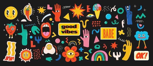 Grande conjunto de cartazes de illustartion vetor de cores diferentes em desenhos animados design plano desenhado à mão ...