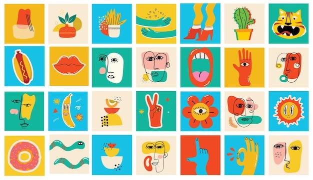 Grande conjunto de cartazes de ilustração vetorial de cores diferentes