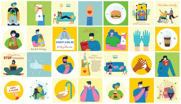 Grande conjunto de cartazes lava as mãos, higiene, médicos, mãos nas luvas, fica em casa e cuidados de saúde. proteger contra o design de conceito de vírus. ilustrações em vetor em estilo simples.