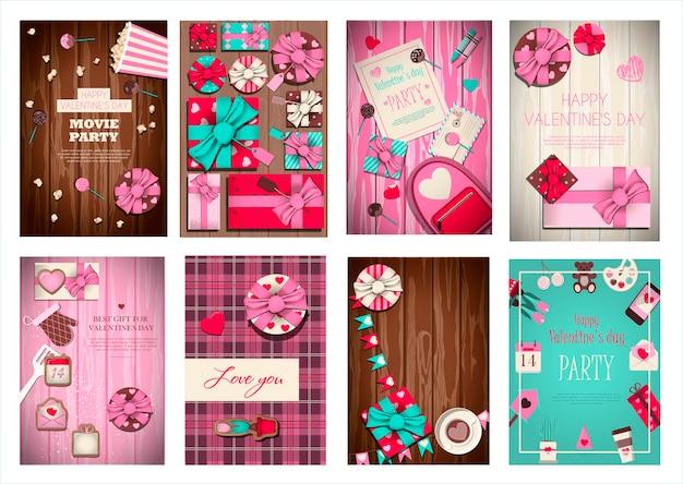 Grande conjunto de cartões de vetor para o dia dos namorados. ilustração dos desenhos animados românticos para o dia 14 de fevereiro.