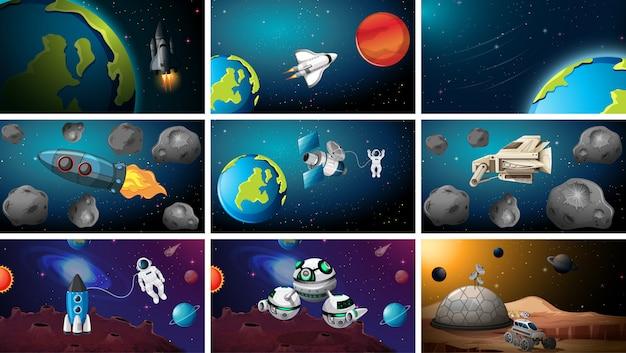 Grande conjunto de cena do espaço ou fundos