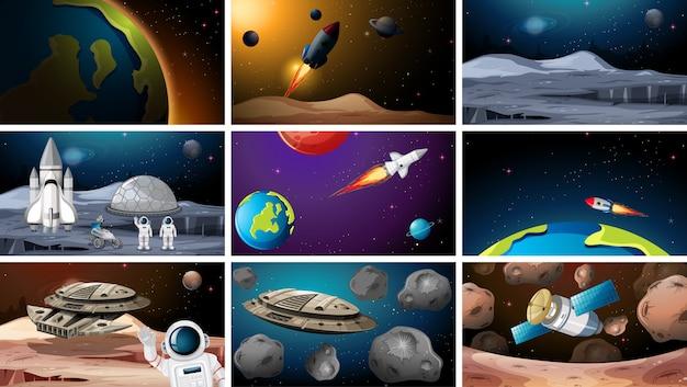 Grande conjunto de cenas espaciais
