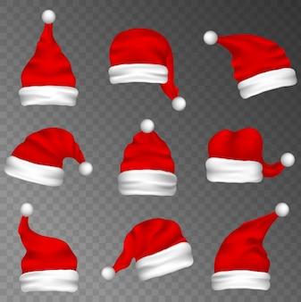 Grande conjunto de chapéus de papai noel realistas em fundo transparente. chapéu vermelho de ano novo em fundo branco. boné de inverno.