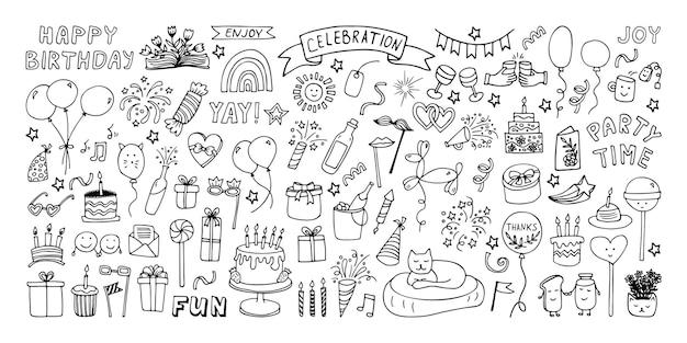 Grande conjunto de clipart de celebração ilustração de doodle de tempo de festa com bolo de aniversário de chapéu de festa de fogos de artifício